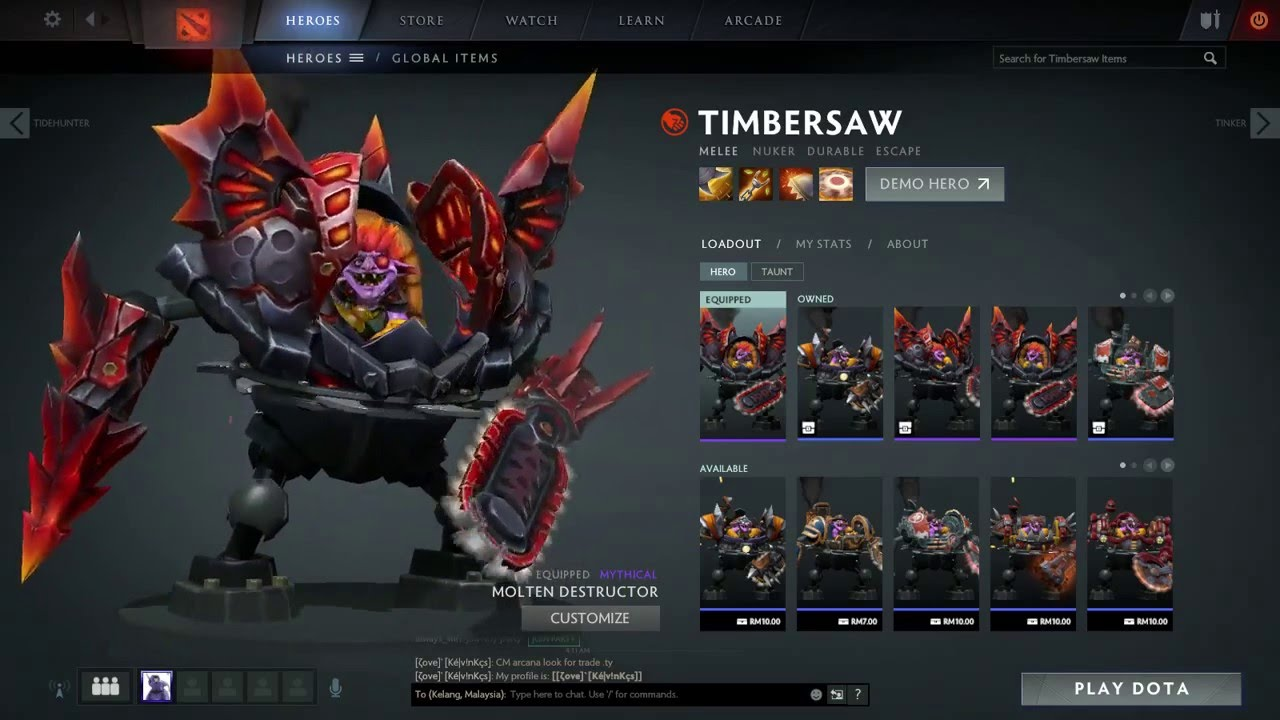 dota 2 timbersaw molten destructor set youtube