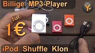 "Billig MP3-Player im Test: ""iPod Shuffle"" Klon für 1€ / microSD bis 8GB / WMA MP3"