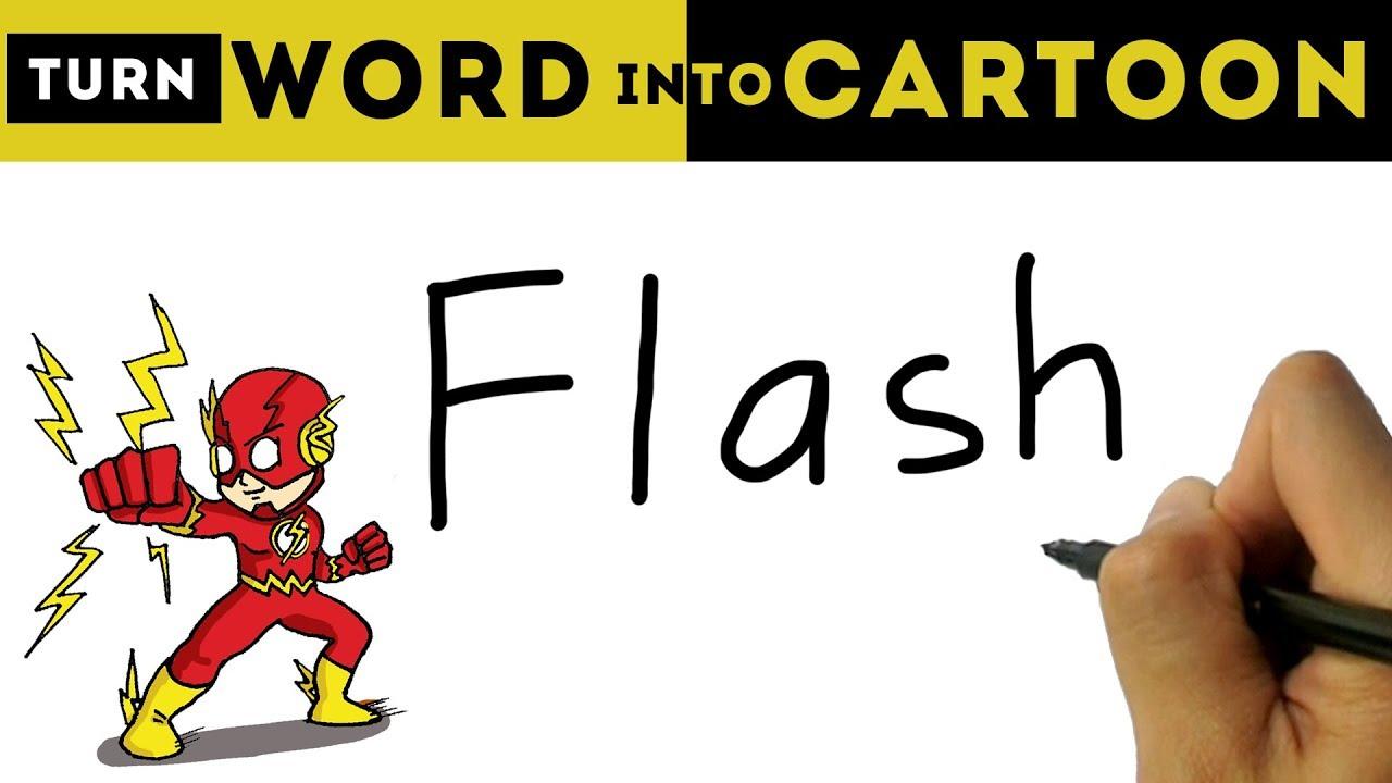 how to turn word flash into the flash cartoon creative drawings