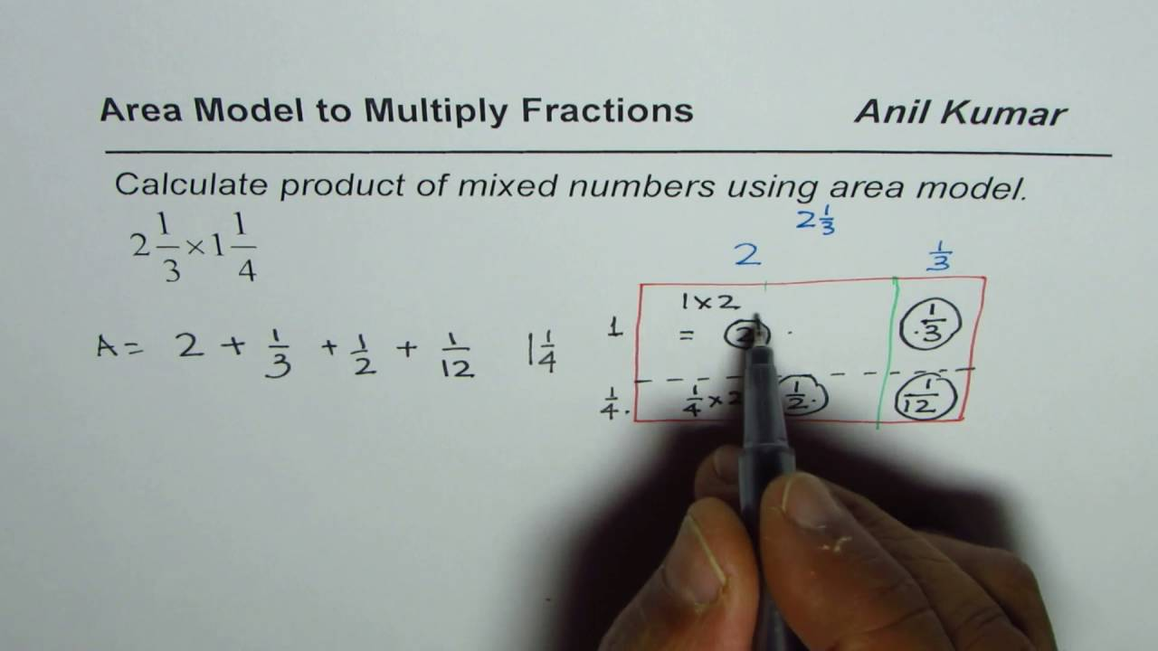 How To Multiply Mixed Numbers Using Area Model
