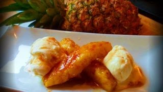 Grilled Pineapple With Caramel Rum Sauce.
