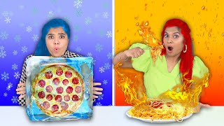 Extreme Fire Vs Ice Food Challenge | Hungry Birds