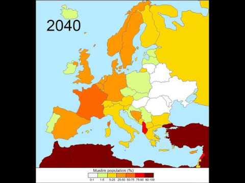 Muslim In Europe Map.Future Muslim In Europe 2013 2050 Youtube