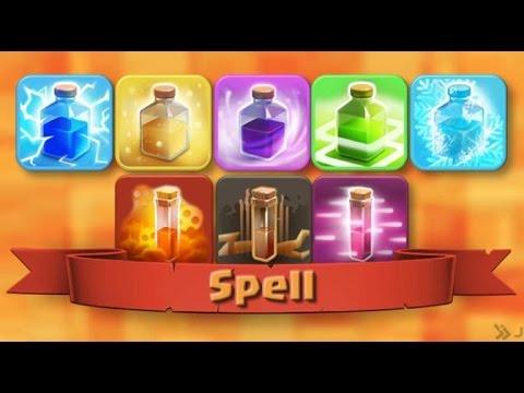 Hướng dẫn chơi Clash of Clans - Thông tin các loại spells (bình phép)