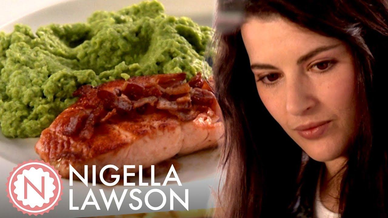 Nigella Lawson's Easy Salmon and Posh Mushy Peas | Nigella Bites