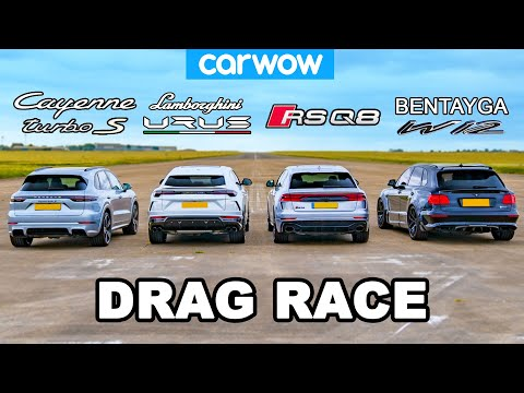Lamborghini Urus vs Audi RSQ8 vs Bentley Bentayga vs Porsche Cayenne Turbo S: DRAG RACE