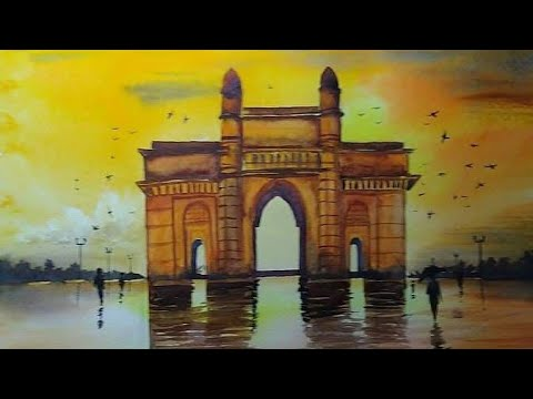 Watercolour painting of Gateway of India