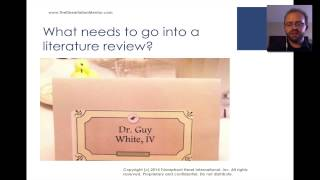 How to Write a Literature Review -- Dr. Guy E White
