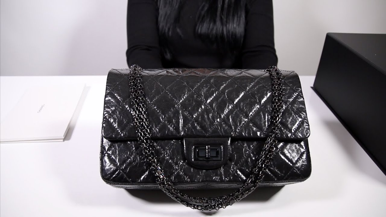 bbc9c64f5ede8c CHANEL REISSUE 2.55 - SO BLACK 227 GLAZED CALFSKIN - YouTube