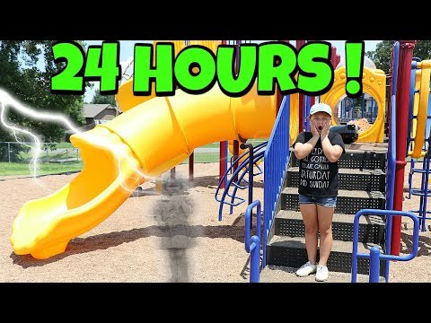 24 HOURS at the PARK PLAYGROUND FOR KIDS ALONE!!! 24 Hour Challenge