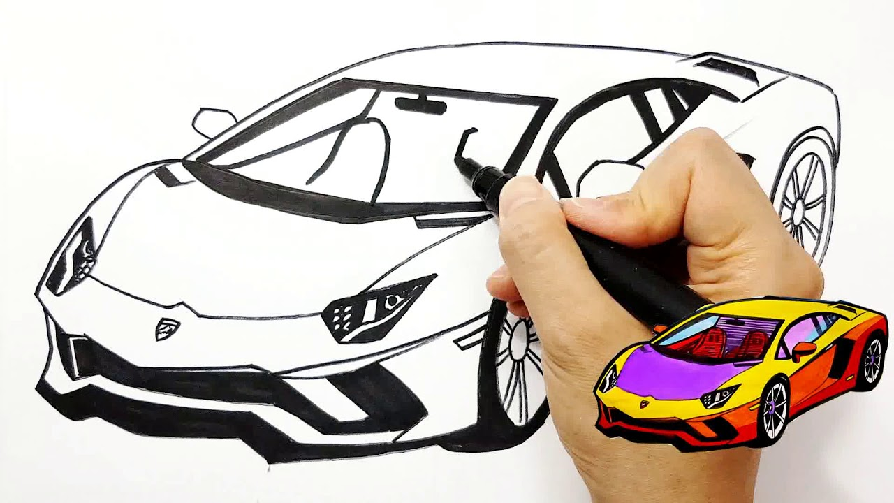 How To Draw A Sports Car Lamborghini For Kids Coloring Pages Learn Colors Drawing Tim Tim Tv Youtube