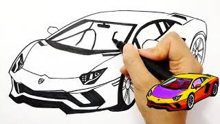 How to draw a sports car Lamborghini for kids Coloring pages Learn Colors drawing | Tim Tim TV
