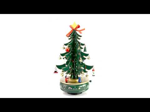 Forest Green and Gold Musical DIY Christmas Tree on Rotating Base