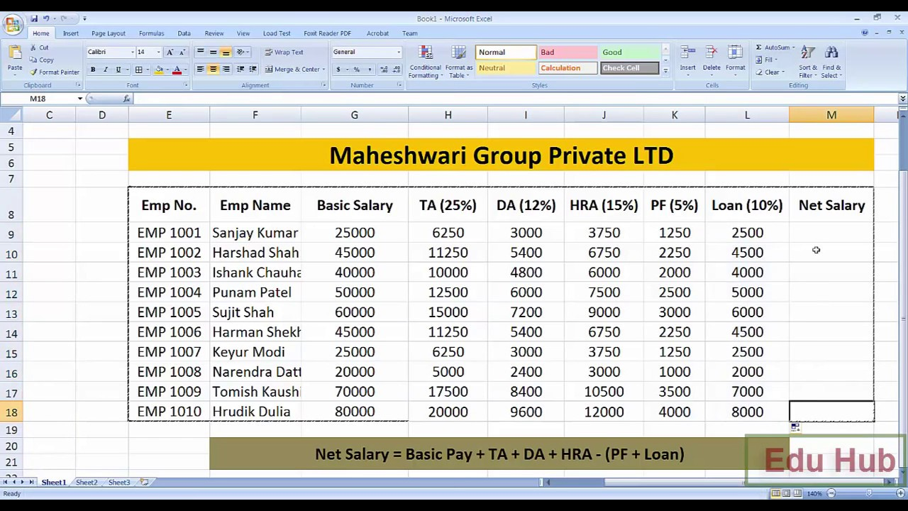 How To Create Salary Sheet And Payslip In Ms Excel Youtube