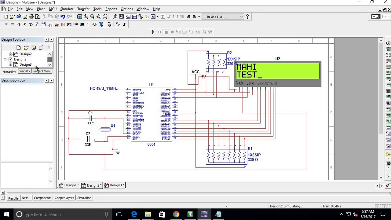 How To Interface Lcd 8051 Using Multisim And Keil Youtube Circuit Diagram Of Development Board