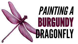 How To Paint A Dragonfly With Inktense In Burgundy