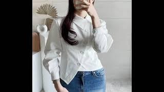 마랑드블랑 언발 카라 사선 랩 버튼 슬림 블라우스 셔츠