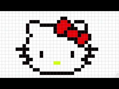 Cómo Dibujar A Hello Kitty Pixelada Muy Fácil