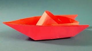 Как сделать катер из бумаги  Оригами катер из бумаги Origami boat