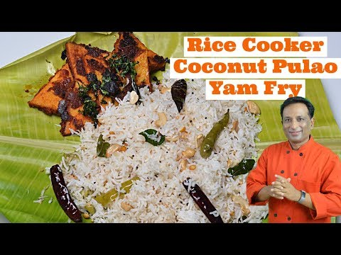 rice-cooker-coconut-rice-and-yam-fry---lunch-box-recipe---instant-rice-cooker-pulao-recipe