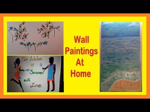 WALL PAINTING AT HOME IDEAS | BIRDS ON  BRANCHES PAINTING|BEACH PAINTING | MR & MRS KITCHEN PAINTING