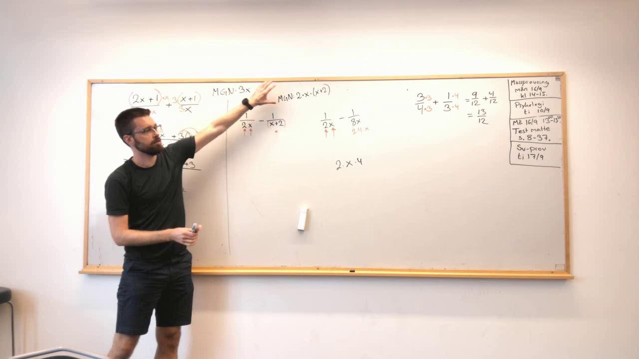 Matematik 3: Addera och subtrahera rationella uttryck