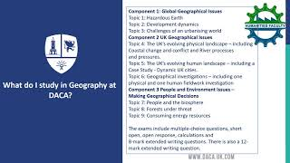 Options Evening - Geography