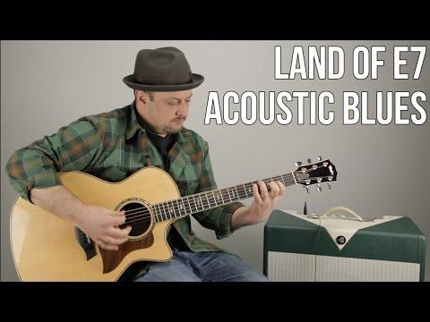 """Acoustic Blues Guitar Lesson """"Land of E7"""" - Rhythm Guitar Techniques"""