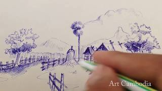 How to Draw countryside  cambodia   Drawing Cambodia  Art Cambodia