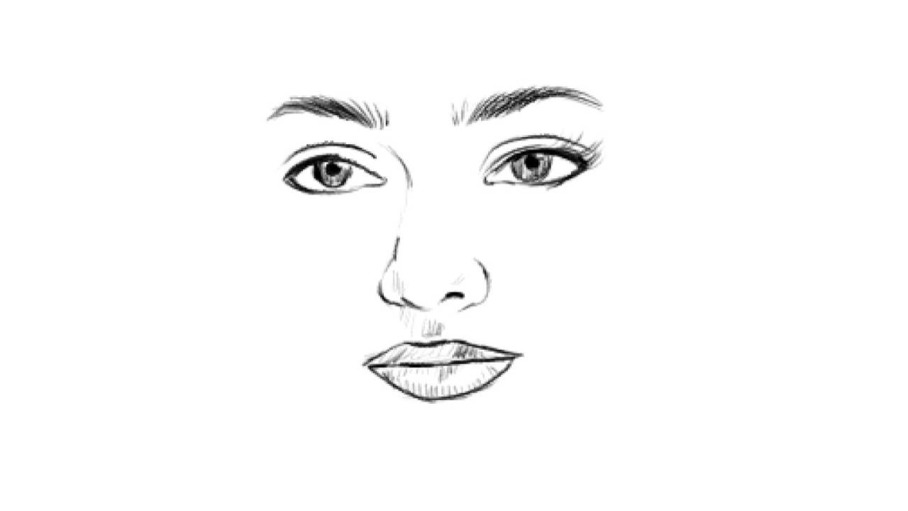 How To Draw A Beautiful Girl Face Eyes Nose Lips Sketch Easy Nithya