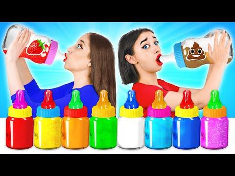 Детская Еда в Бутылочках Челлендж | Выбери правильный напиток! - Видео онлайн