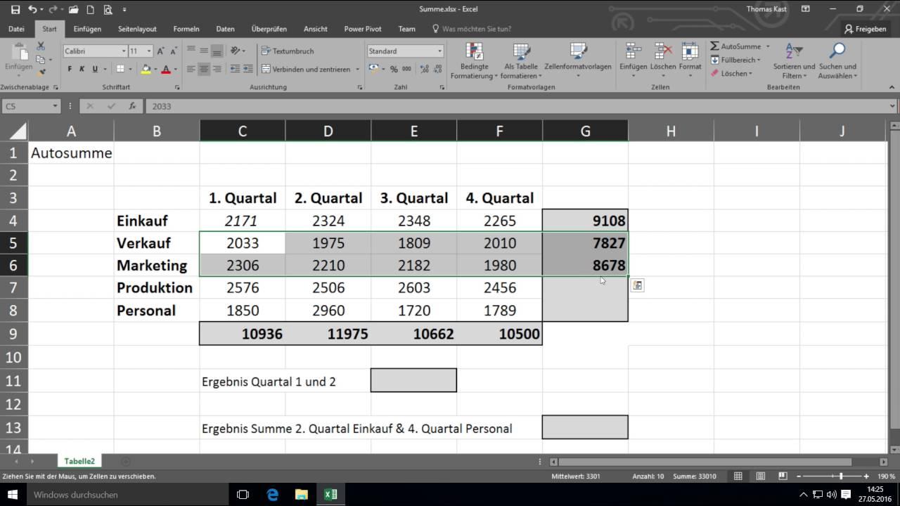 Autosumme Excel