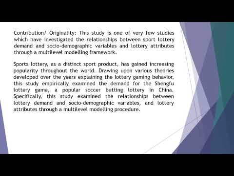 Determinants of Demand for Sports Lottery Insights from a Multilevel Model  AEFR 58 973 987