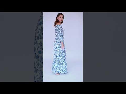 Video: Stylowa sukienka maxi z hiszpańskim dekoltem