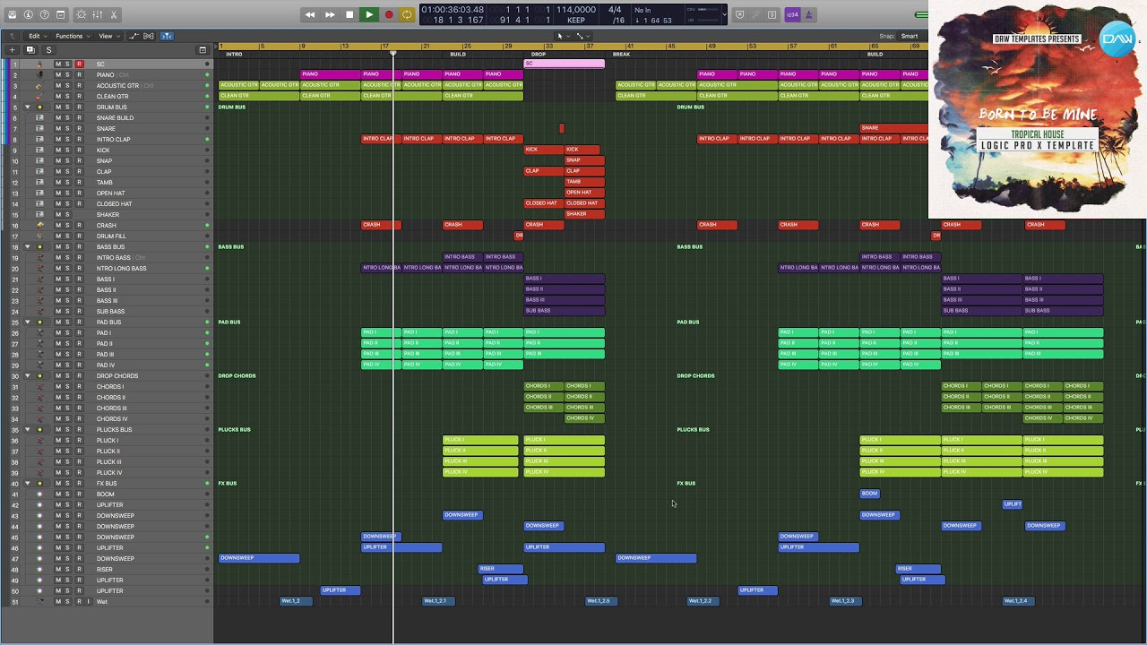 Tropical House Logic Pro X Template Born To Be Mine How To