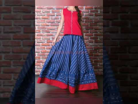 126917e4d Skirt and top designs |crop top| old sarees can be converted - YouTube