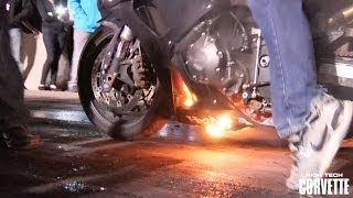 Motorcycle Catches Fire - TX2K14 Burnout Contest