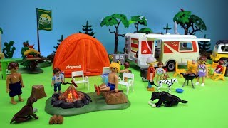 playmobil summer fun camping family caravan playset build and play with pool slide toys for kids