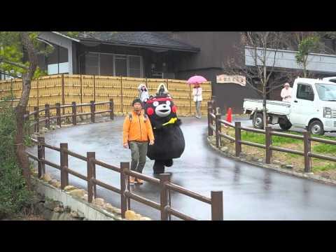 くまモン雨中出場@水俣湯の鶴公園 2016313