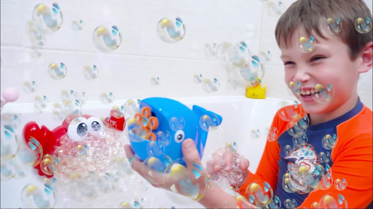 Katy and Max playing with Bath bubbles | Kids show How to have a bath  Kid Song