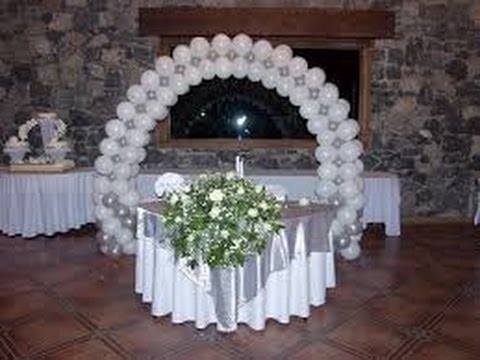 Decoraci n de globos para bodas youtube for Arreglos de salon con globos