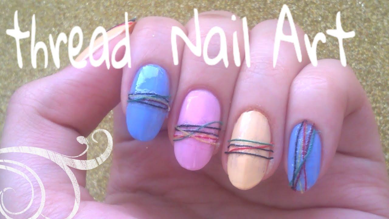 thread nail art tutorial