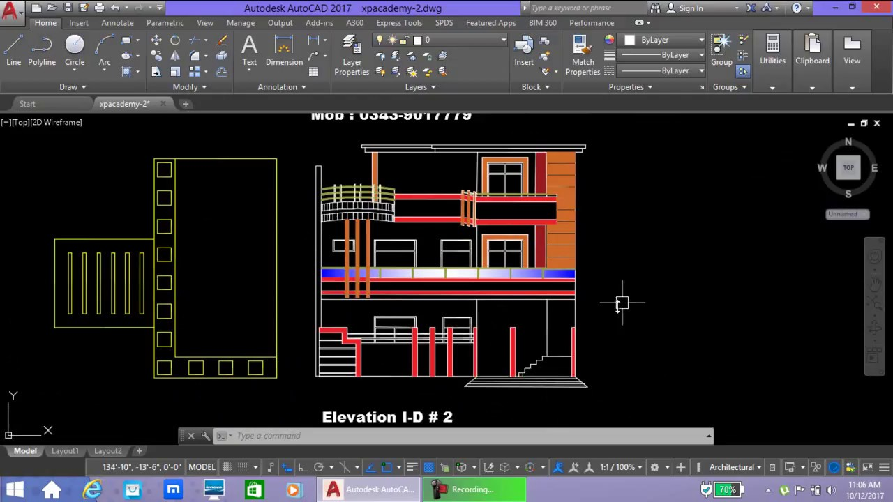 Front Elevation Autocad 2d : How to make front elevation autocad