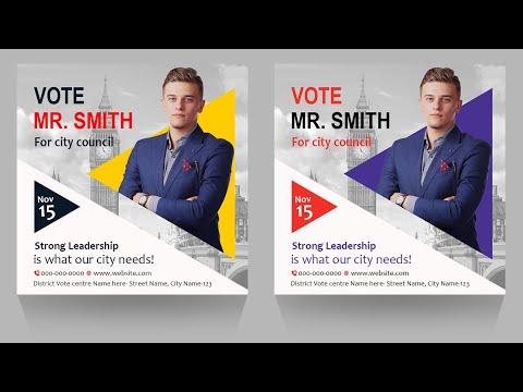 How to Design Standard Vote Poster   Adobe Photoshop Tutorial   Tech Hunter