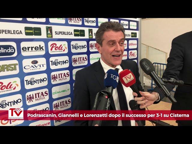 Podrascanin, Giannelli e Lorenzetti dopo il 3-1 su Cisterna