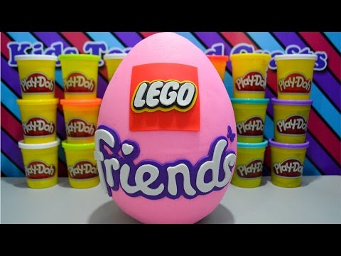 Giant LEGO Friends Play Doh Surprise Egg W/ Kate Water Scooter Penguins Playground Brown Bears River