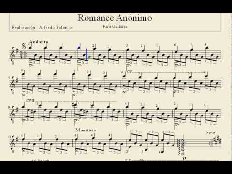 Partitura de romance an nimo para guitarra cl sica youtube for Partituras de guitarra clasica