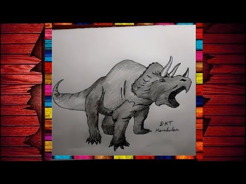 Ekt Karakalem Nesli Tukenen Hayvanlarin Cizimi Dinozor