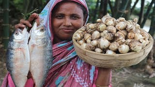 FARM FRESH TARO ROOT RECIPE Most Healthy Cooking Hilsha With Fresh Taro Root Curry VILLAGE FOOD