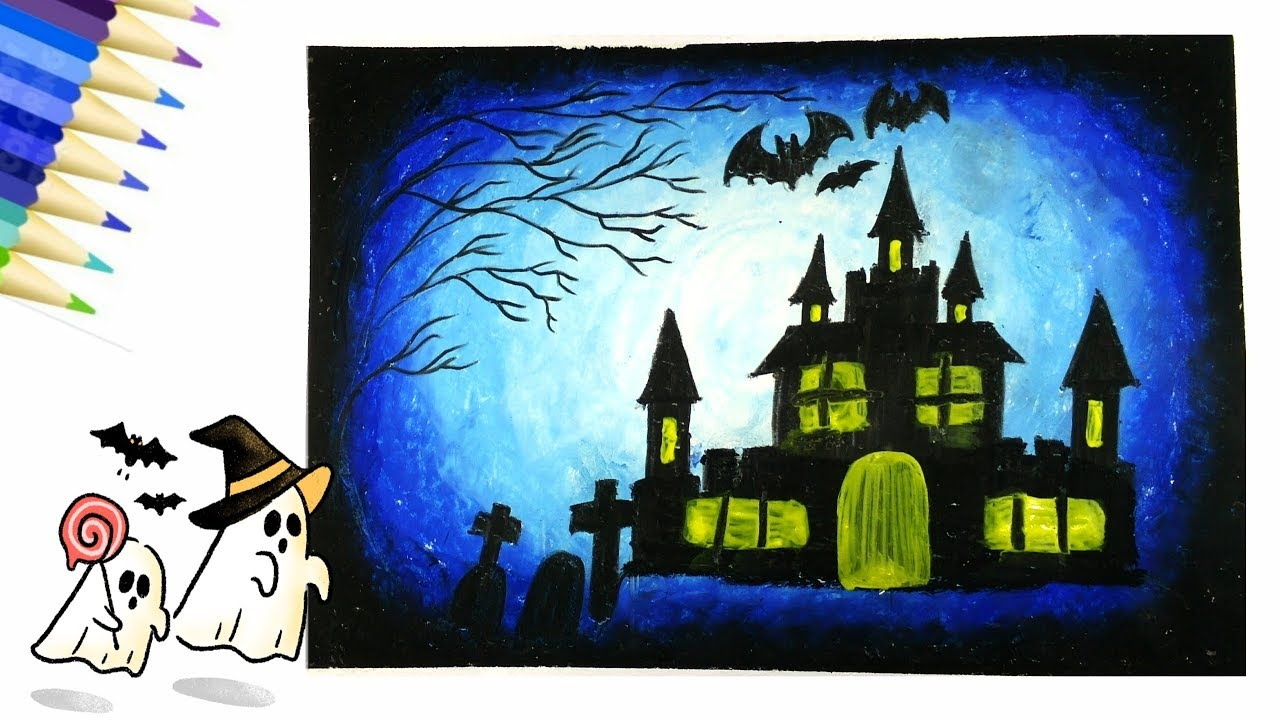 How To Draw And Coloring Halloween L วาดภาพระบายส ฮาโลว น ภาพศ ลปะ